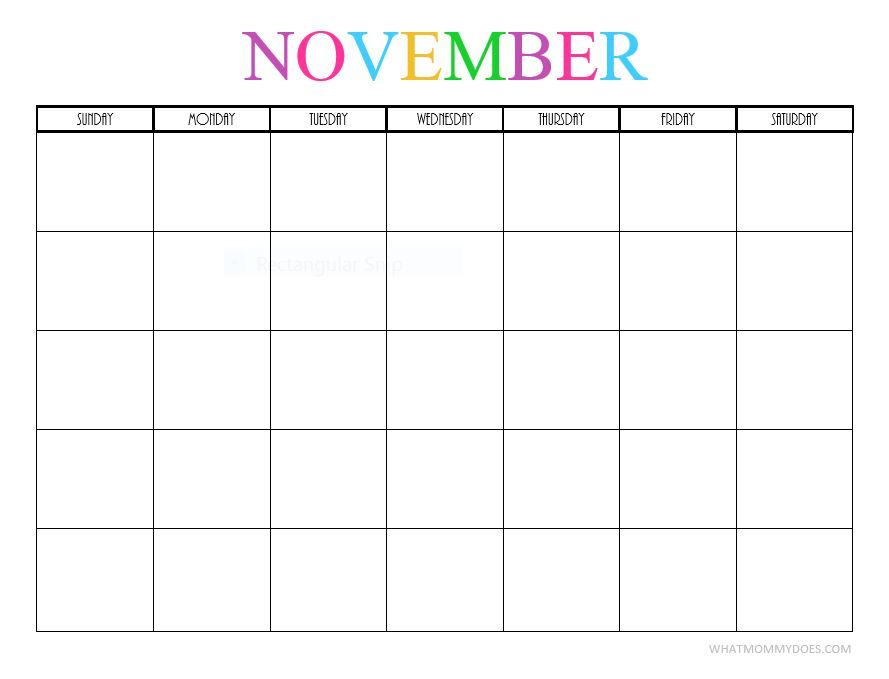 Free Printable Blank Monthly Calendars 2017 2018 2019 2020