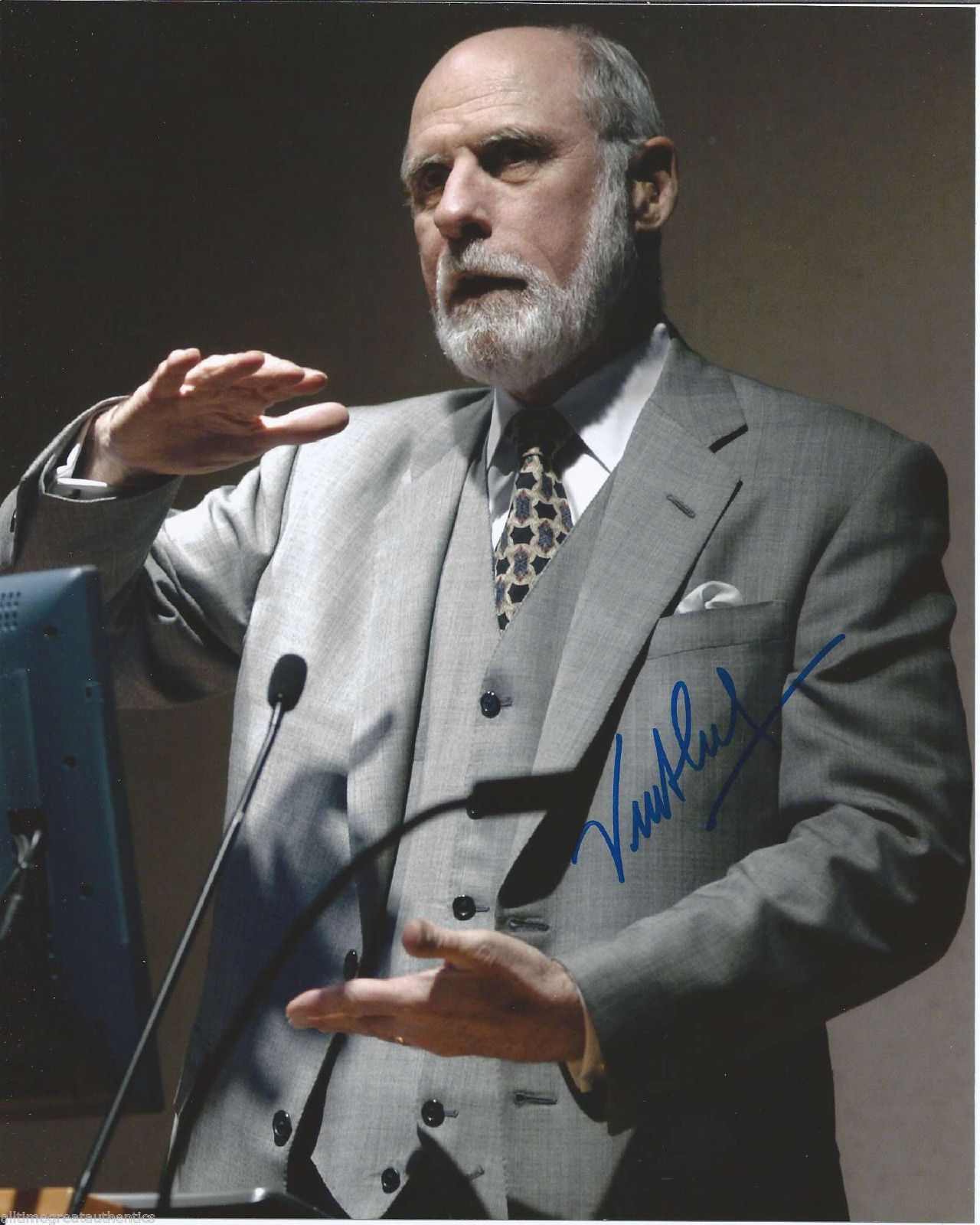 """VINT CERF """"signed"""" authentic photo - Inventor Father Of The Internet."""