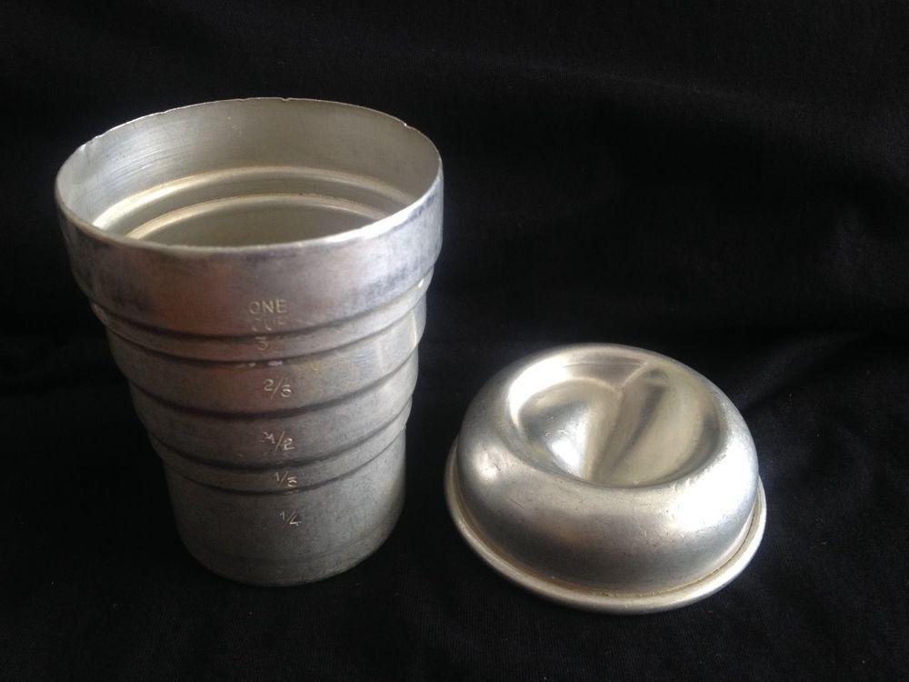 Vintage Aluminum Swirl Mixer Measuring Cup Gravy Shaker W