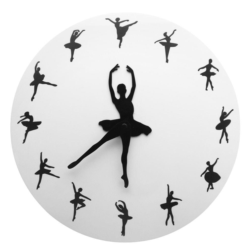 Ballet Time Wall Clock Ballerina Dancer Ballet Decorative Clock Wall Watch Girls Room Dancing Studio Decor Ballet Dancers Gift Relojes De Pared Munecos Artisticos Reloj