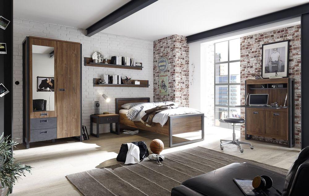 Schlafzimmer Jugendzimmer Industrial Style Bett 90 x 200 ...