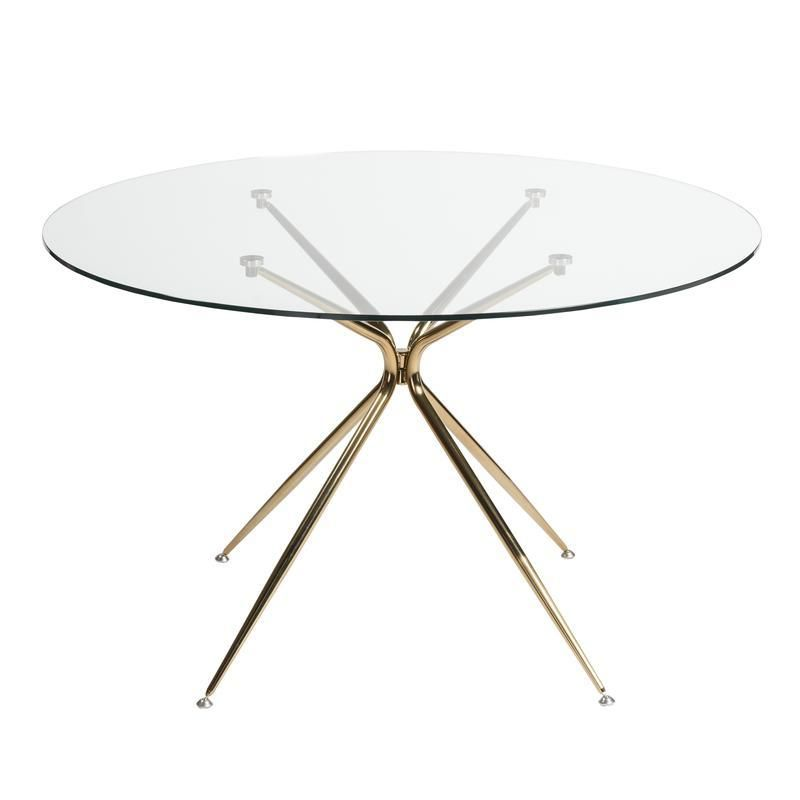 48 Round Glass Top Meeting Table W Rose Gold Base Dining Table Gold Dining Table Copper Round Dining Table