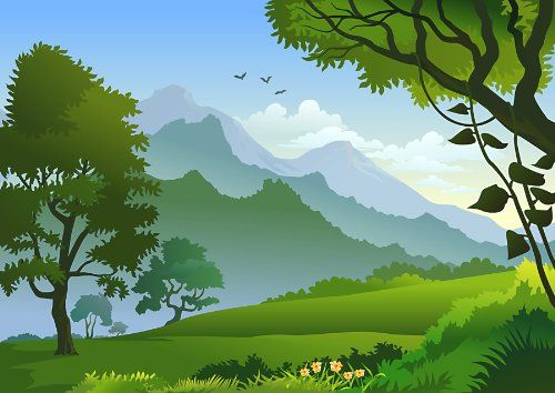 Removable Repositional Reusable Wall Decals Hills Nature Mountains Artwork Made From Adhesive Wall Landscape Illustration Landscape Background Landscape Trees