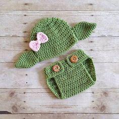 Photo of Häkeln Sie Baby Mädchen Yoda Star Wars Hut Mütze Windel Cover Set Neugeborene…