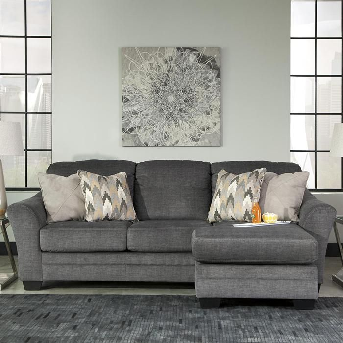 579 99 Braxlin Sofa Chaise In Charcoal Nebraska Furniture Mart