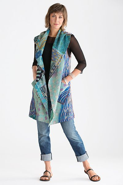 Kantha Patchwork Vest: Mieko Mintz: Cotton Vest - Artful Home