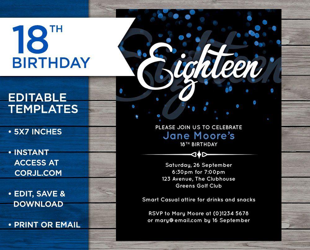 18th Birthday Invitation 18th Birthday Invitation Template Etsy 18th Birthday 16th Birthday Invitations Birthday Invitation Templates