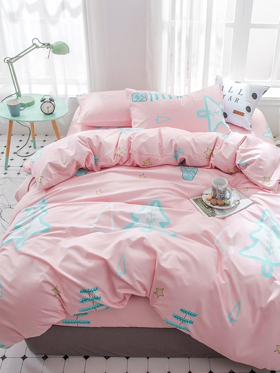 Cute Kitty Cat Deep Blue Stripe 4pcs Bedding Set Full King Queen Double Size Duvet Cover 1.5m 1.8m 2.0m 2.2m Bed Sheet Bedlinens Power Source