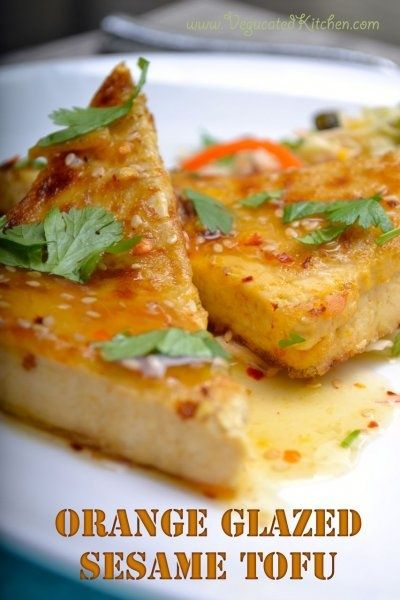 Orange Glazed Sesame Tofu & Pistachio Cabbage Slaw