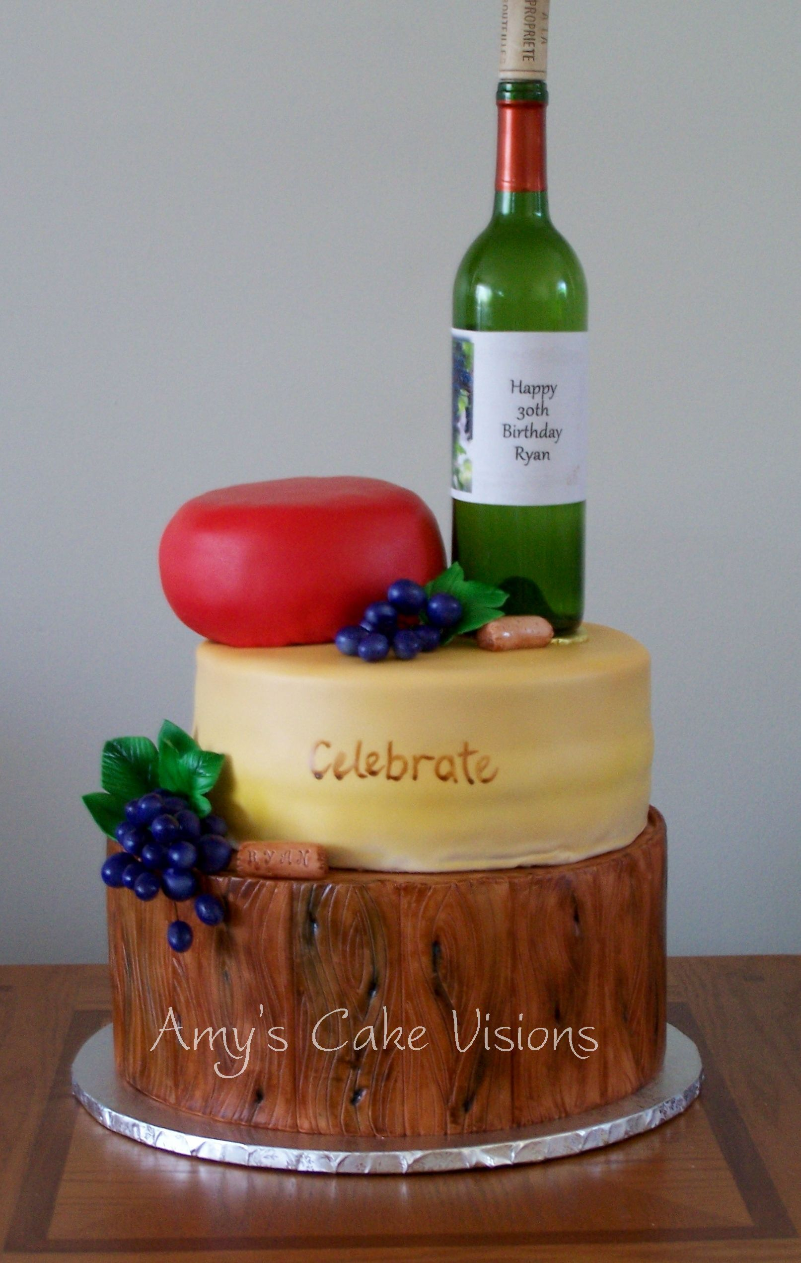 Wine and Cheese Cake Created this for my nephews 30th birthday