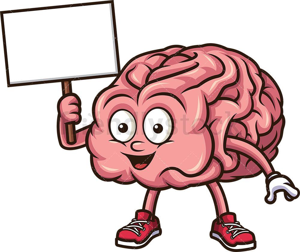 Brain Holding Blank Sign Cartoon Clipart Vector Friendlystock Brain Illustration Cartoon Clip Art Blank Sign