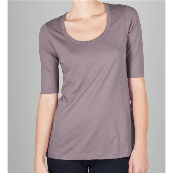 Lilla P Pima Basic Scoop Neck T-Shirt - Elbow Sleeve (For Women - basic p&l template