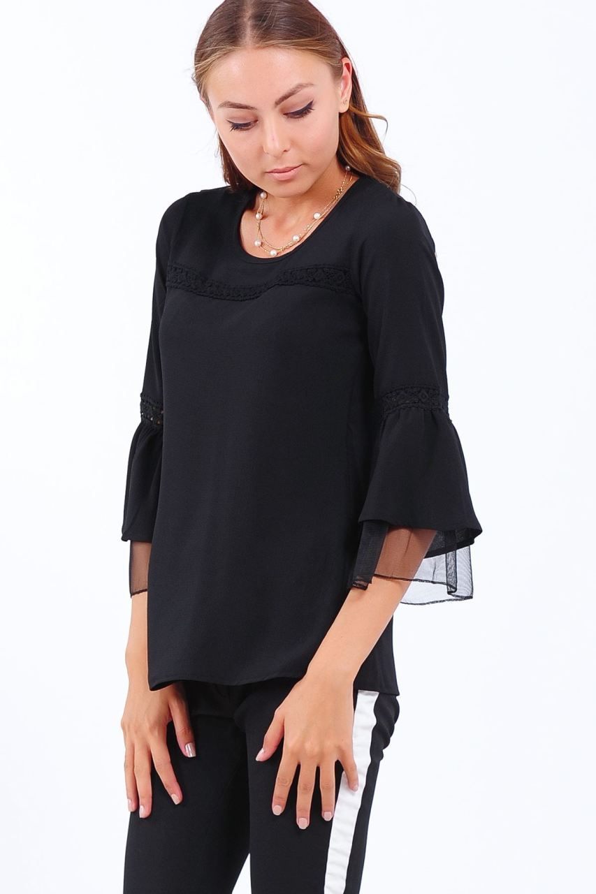 Tul Dantel Detay Siyah Bluz Giyim Indirim Kampanya Bayan Erkek Bluz Gomlek Trenckot Hirka Etek Yelek Mont Kase Kaban Elbi Siyah Bluz Moda Giyim