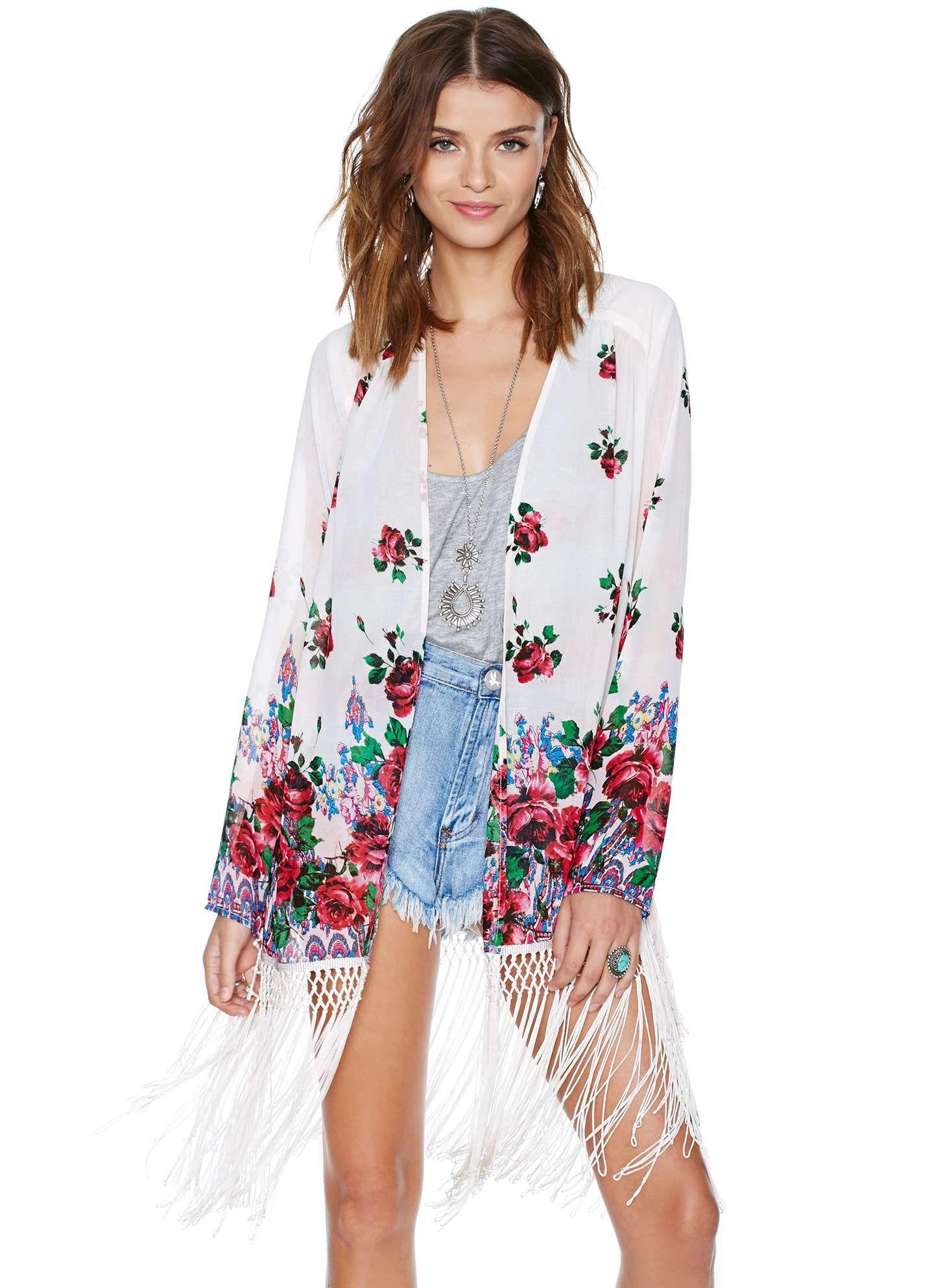 Floral Tassel Blouse | college lookbook ʕ •́؈•̀ ₎ | Pinterest ...