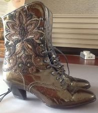 Brown Victorian Style Italian Made Leather Boots - Size 5.5