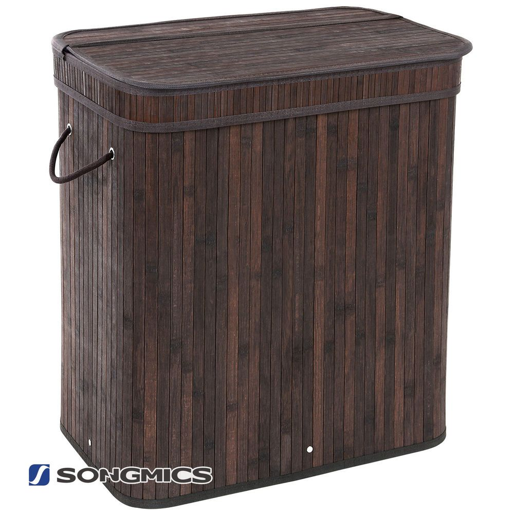 Songmics Bamboo Laundry Hamper Basket Clothes Hamper With Lid And