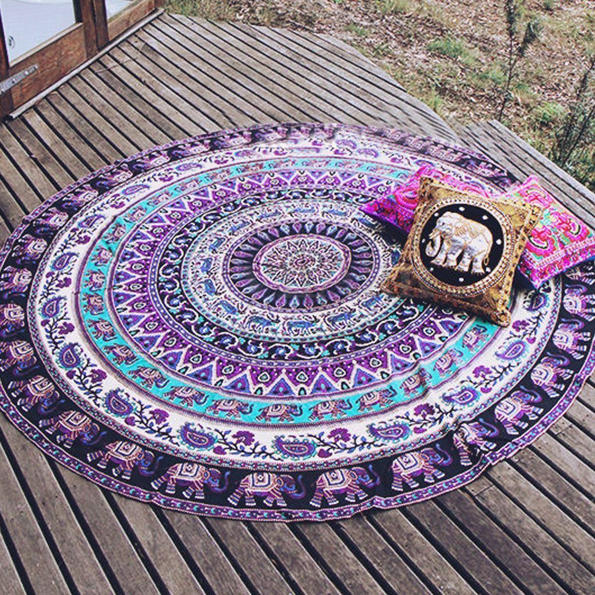 Bohemian Mandala Round Beach Tapestry Hippie Throw Yoga Mat Rug Blanket Decor