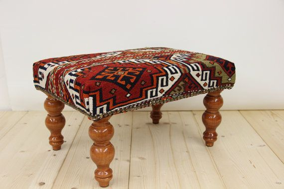 Hand Woven Turkish Oriental Kilim Foot Stool Banch Sofa Chair  Wood  Furniture,Ottoman 14