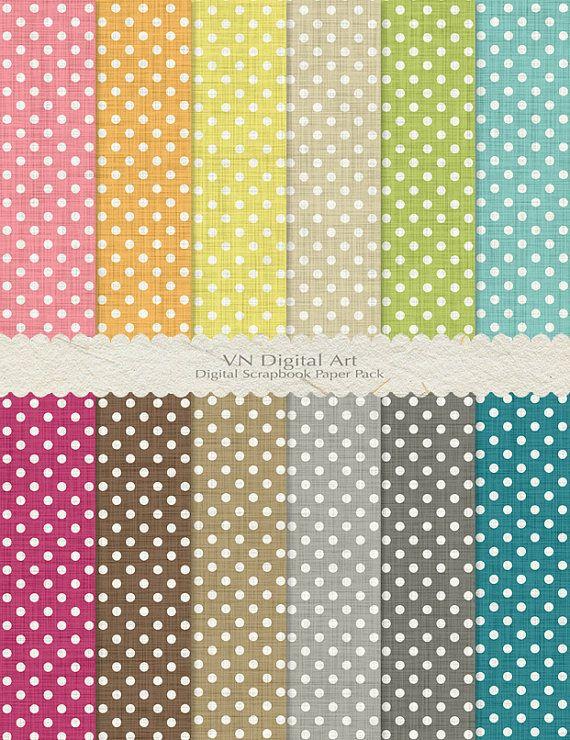 "Polka Dot Linen Textured Digital Paper Pack (8.5x11"") -- Instant Download -- 12 Digital papers -- 613"