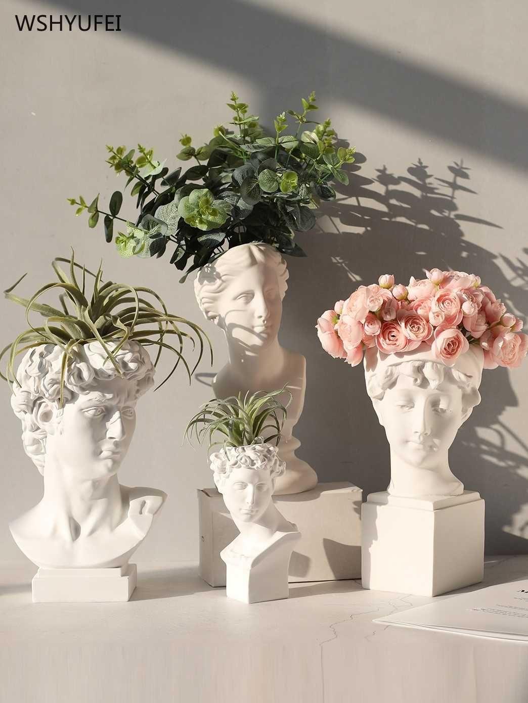 Ancient Greek White Resin Flowerpot Portrait Decoration Gypsum