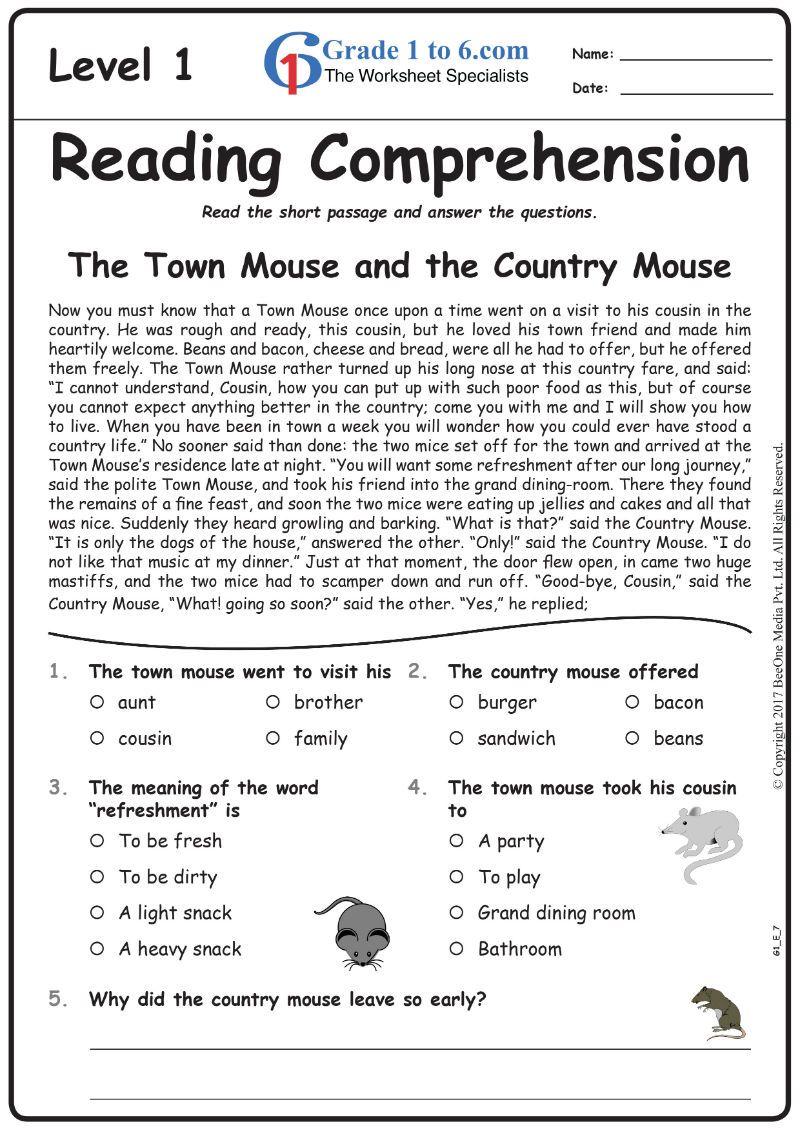 Grade1to6 Com Comprehension Worksheets Kindergarten Math Worksheets Free Reading Worksheets [ 1131 x 800 Pixel ]