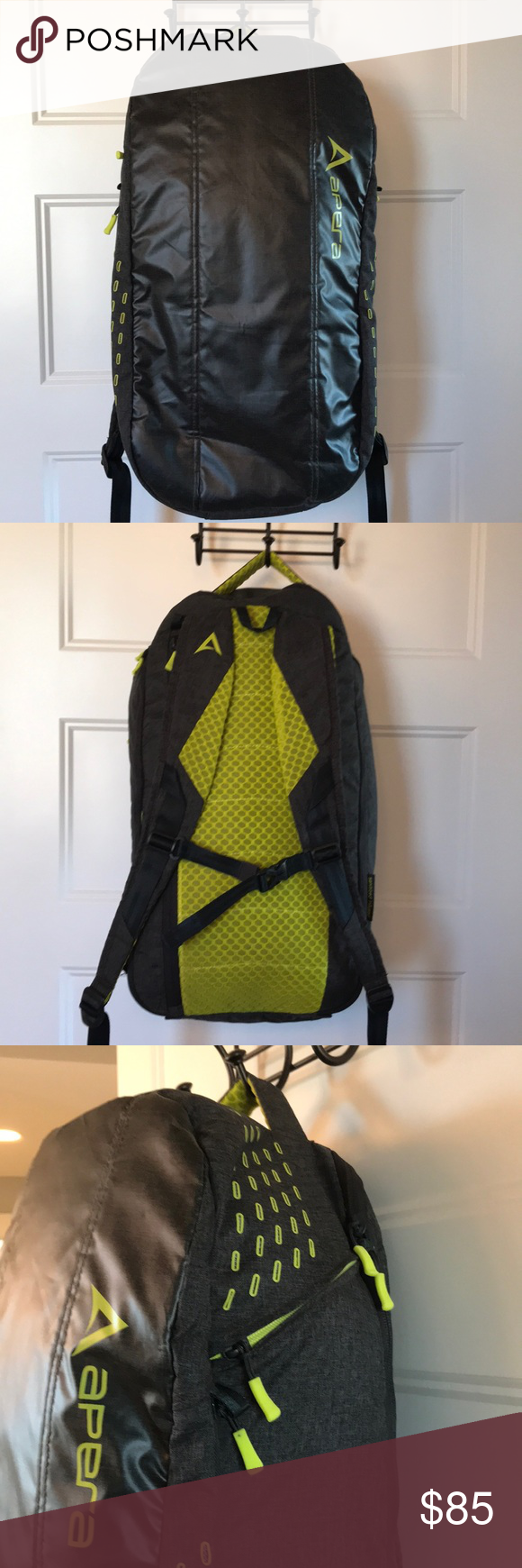 Apera Locker Pack backpack back laptop travel gray Gray and a lime  yellowish color. Great 3473772a48b29