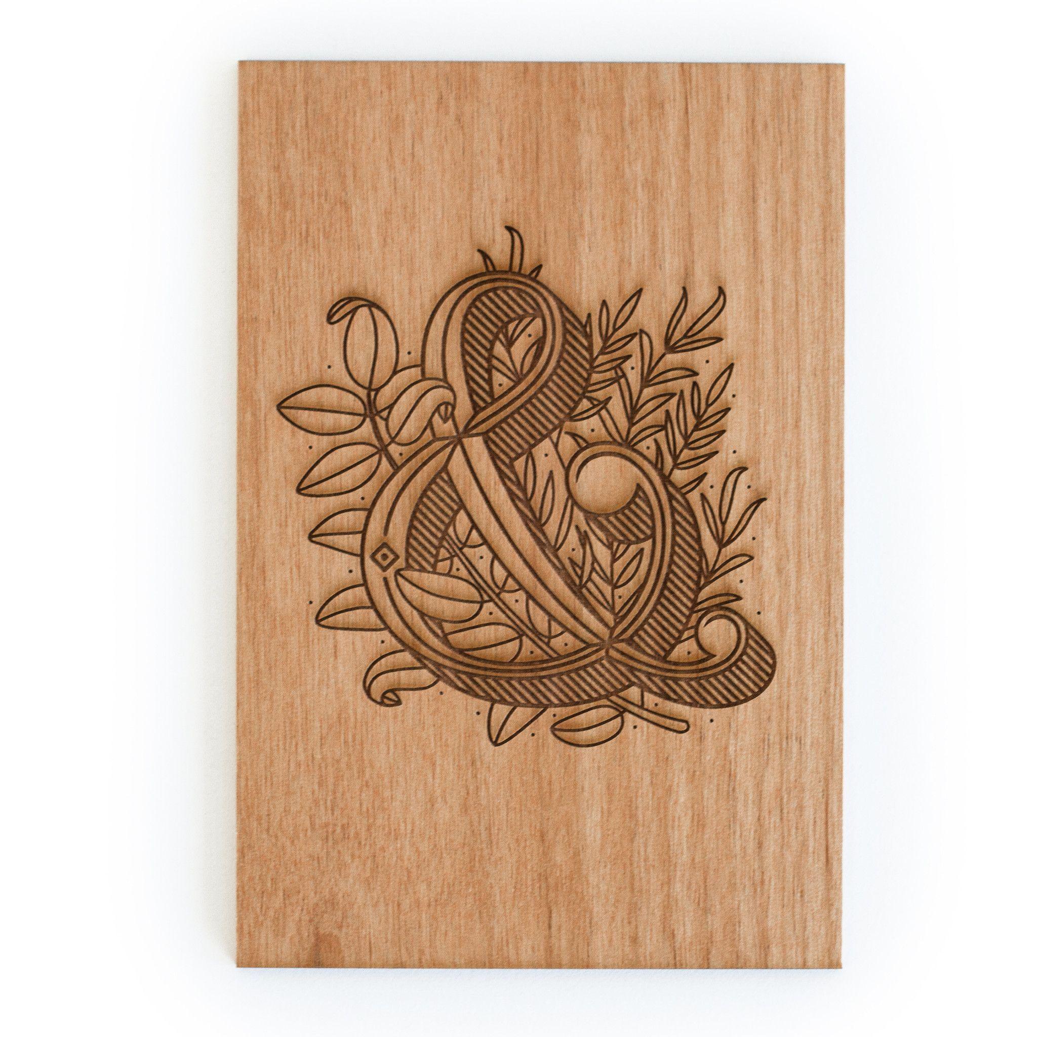 Floral Ampersand Wood postcard, Wood card, Ampersand