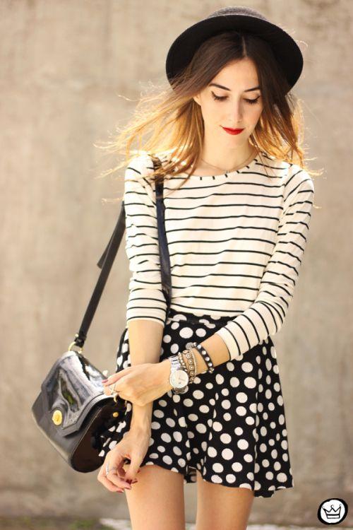 FashionCoolture - 19.03.2015 look du jour Sly Wear striped top dots skirt  (4) bc01e6e0017