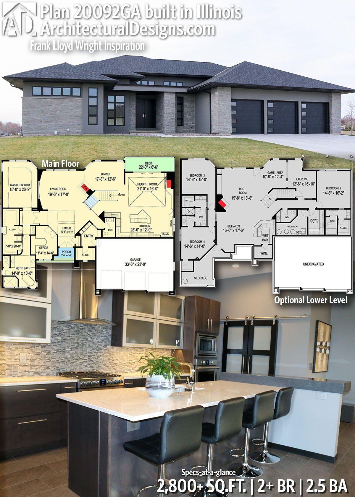 Plan 20092ga Frank Lloyd Wright Inspiration Building Plans House House Plans Building A House