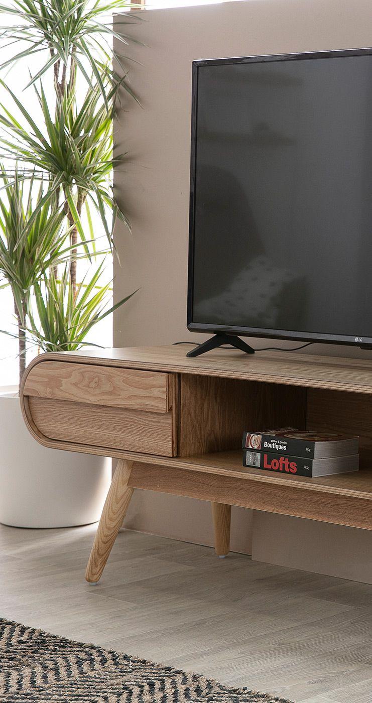 Meuble Tv Design 2 Tiroirs Frene Naturel Baltik Miliboo Meuble Tv Design Meuble Design Idee Deco
