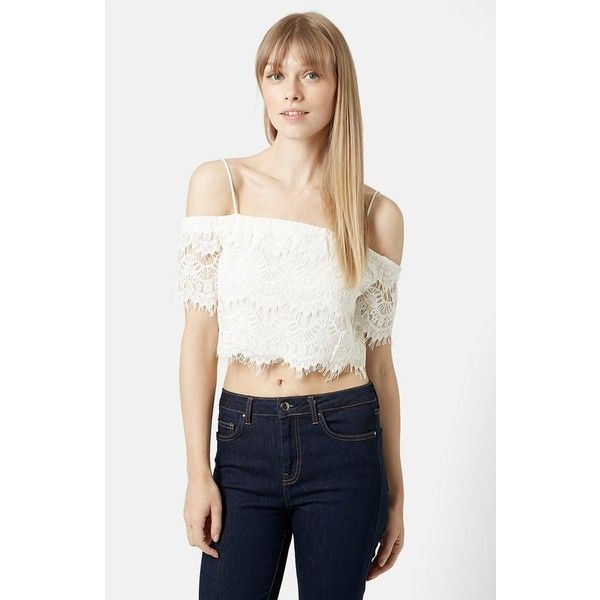 Topshop Off the Shoulder Lace Crop Top ($30) ❤ liked on Polyvore