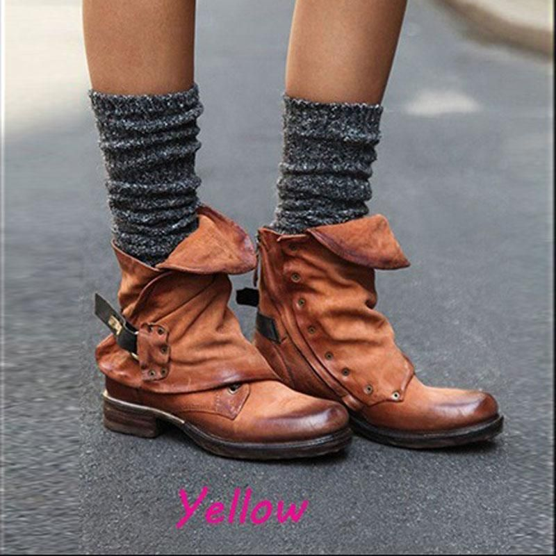 Womens Flat Ankle Western Riding Boots