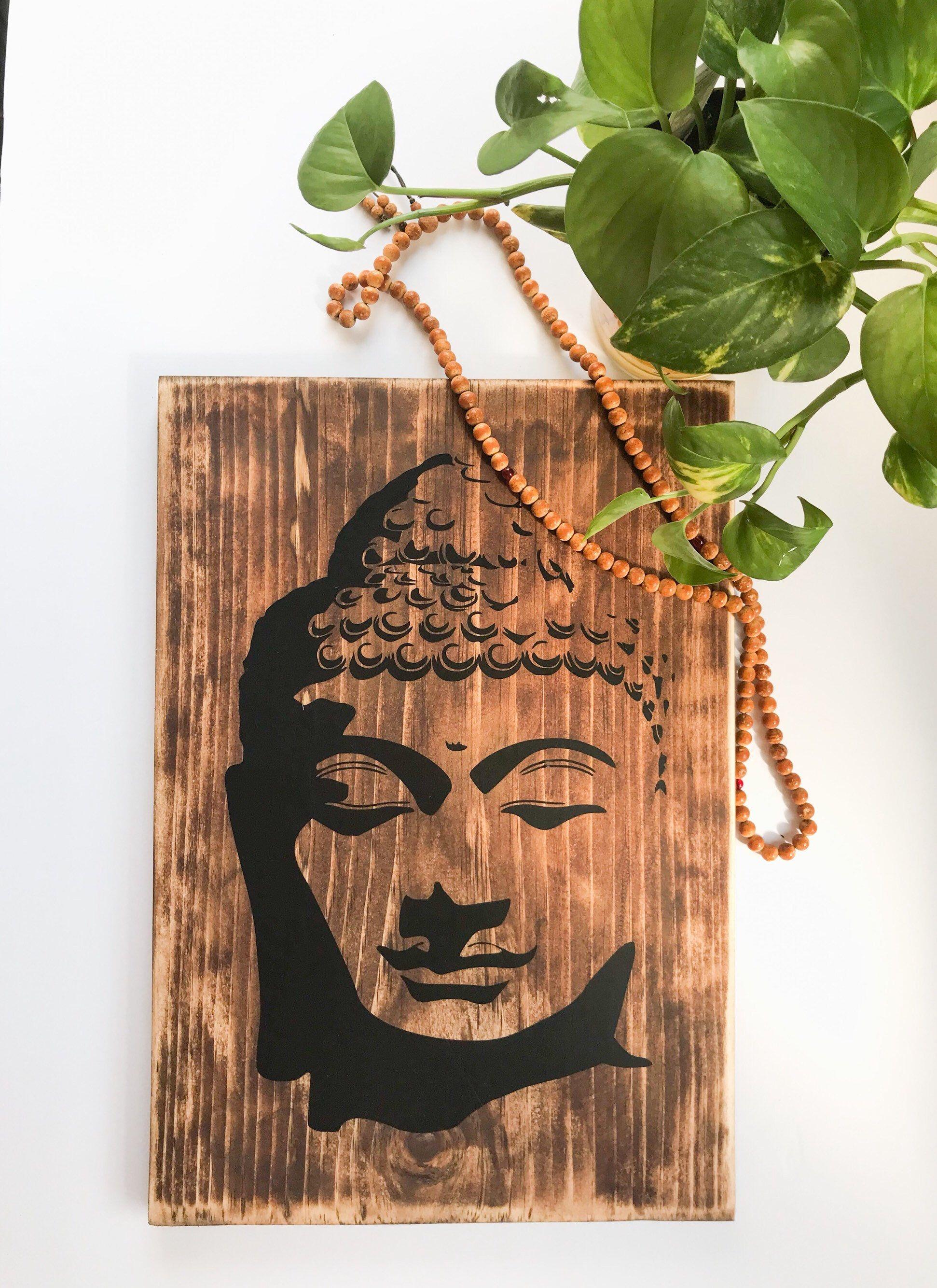 Rustic Wood Buddha Wall Art Wooden Buddha Face Home Decor