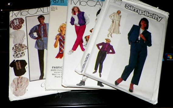 Lot of 8 Uncut Sewing Patterns Retro And by hookandneedlepattern, $15.00