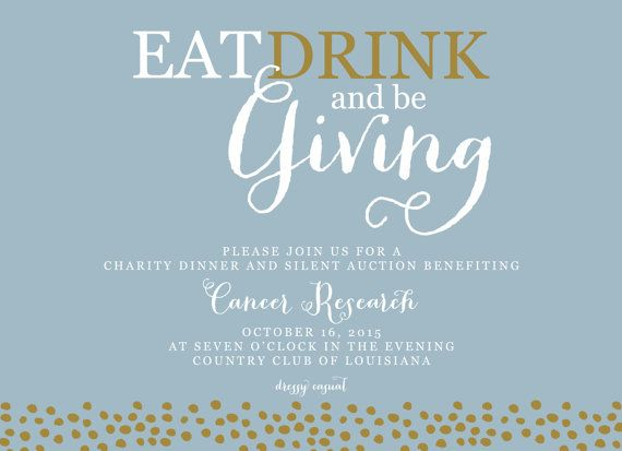 Fundraiser Invitation Eat, Drink and Be Giving Fundraising Event