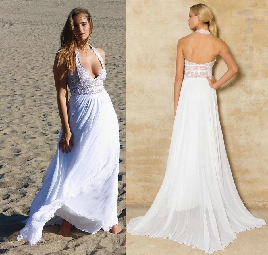 Simple beach wedding dress  Cheap Two Tone Halter Lace Beach Wedding Dresses  Dakota