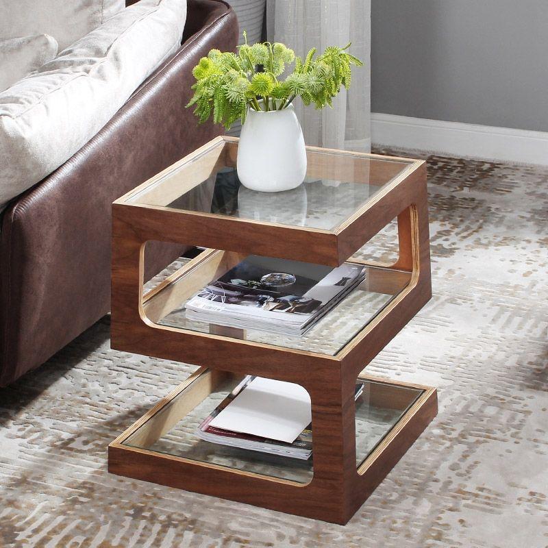 modern unique square side table storage
