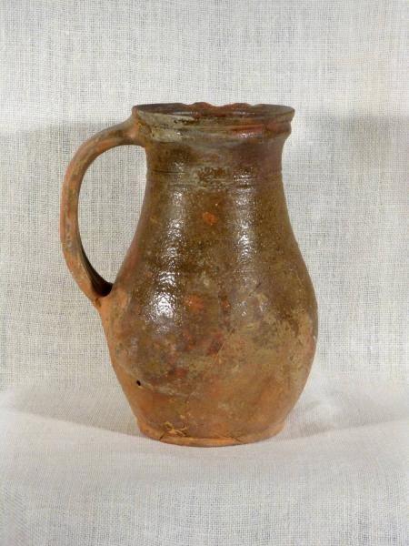 Top Antiquité Pichet glacuré médiéval poterie en terre cuite cruche du  DL65