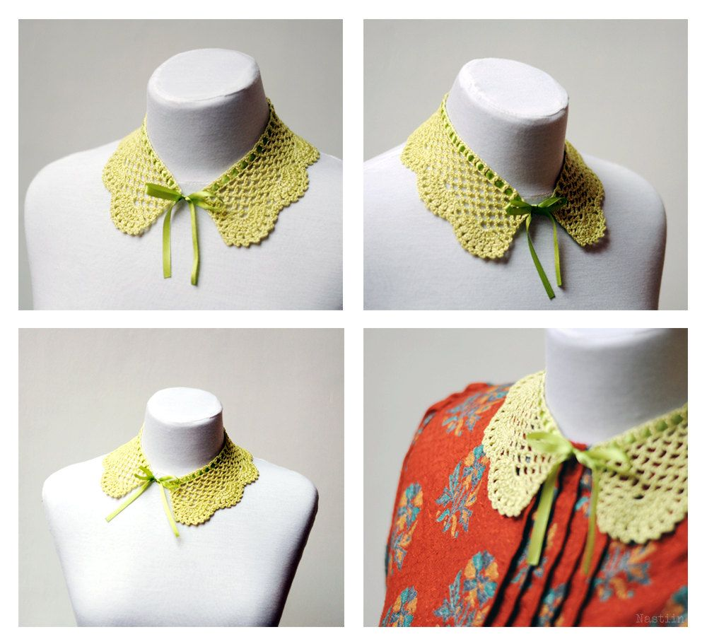Chartreuse crochet lace collar / girls detachable peter pan collar  by Nastiin