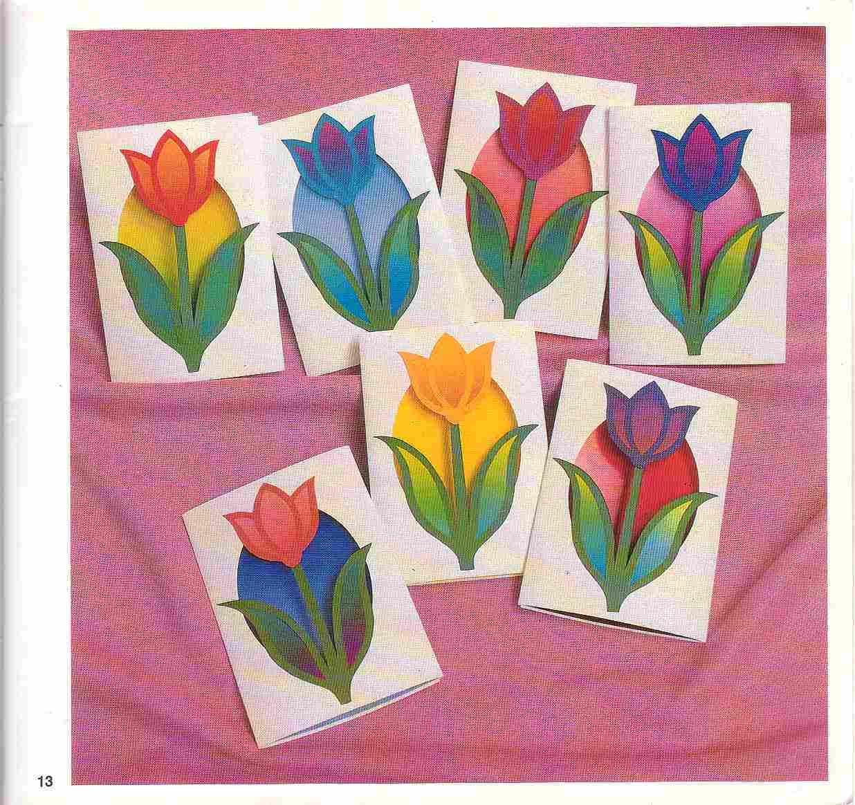 Как сделать открытку с тюльпанами из бумаги, день рождения алены