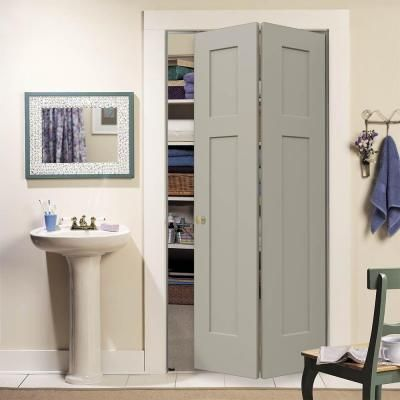 Jeld Wen 36 In X 80 In Craftsman Desert Sand Painted Smooth Molded Composite Mdf Closet Bi Fold Door Thdjw160200119 The Home Depot In 2020 Bifold Closet Doors Bifold Doors Closet Door Makeover