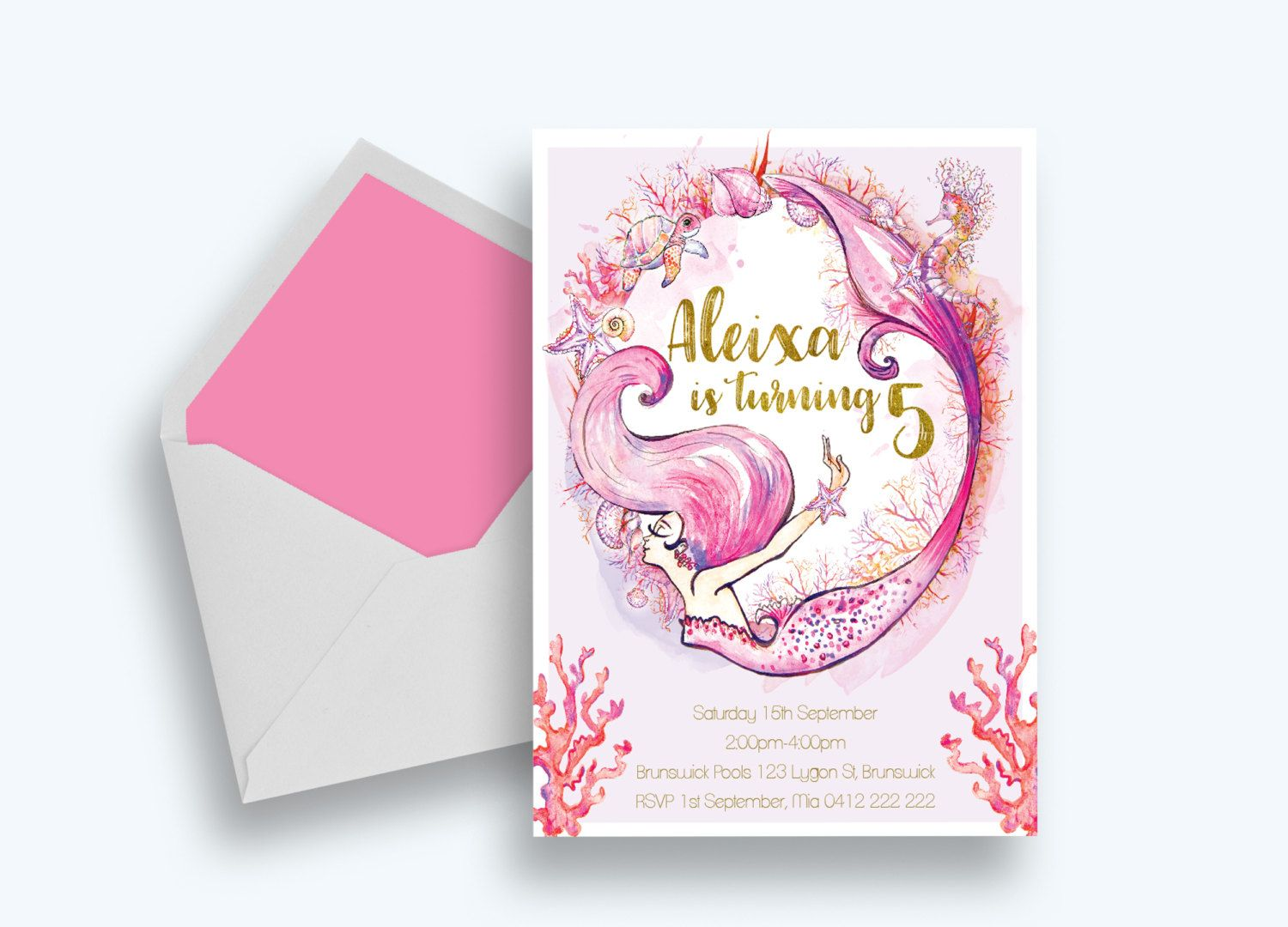 Underwater Party Invitations >> Under The Pink Sea Printable Pool ...