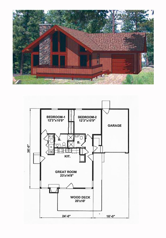 Contemporary Style House Plan 94320 With 2 Bed 2 Bath 1 Car Garage Contemporary House Plans House Plans Cottage Plan