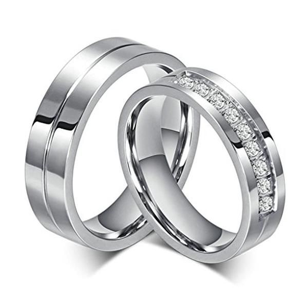 Engraved Stainless Steel Cz Diamond Couple Rings Accept Exclusive