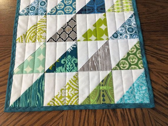 Modern Quilted Table Runner Half Square by QuiltSewPieceful