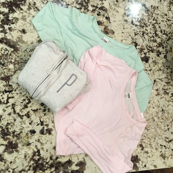 PINK by Victoria's Secret bundle! 2 long sleeve shirts, the green one is size small while the other pink top and grey/white sweatshirt are extra smalls! Great condition and barely warn! PINK Victoria's Secret Tops