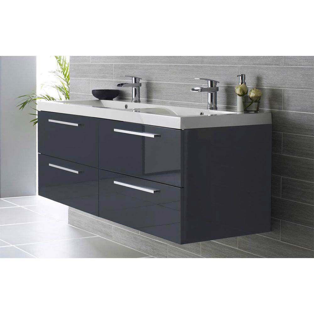 Hudson Reed Quartet Double Basin Vanity Unit High Gloss Grey 1440mm Wide Next Day Delivery Bathroom Vanity Units Bathroom Sink Storage