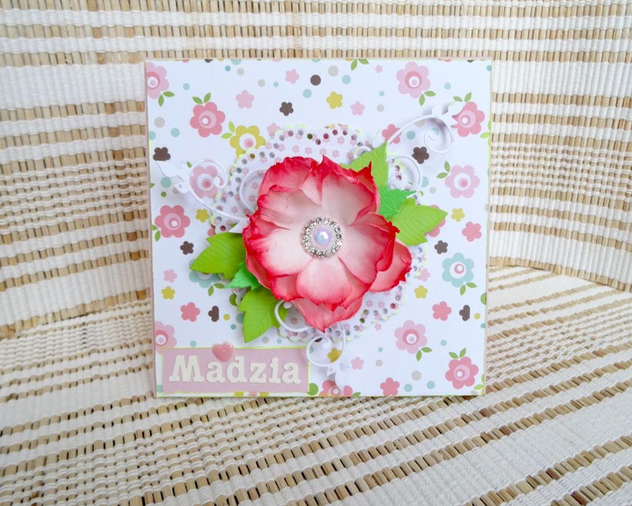 Handmade card with foamiran flower