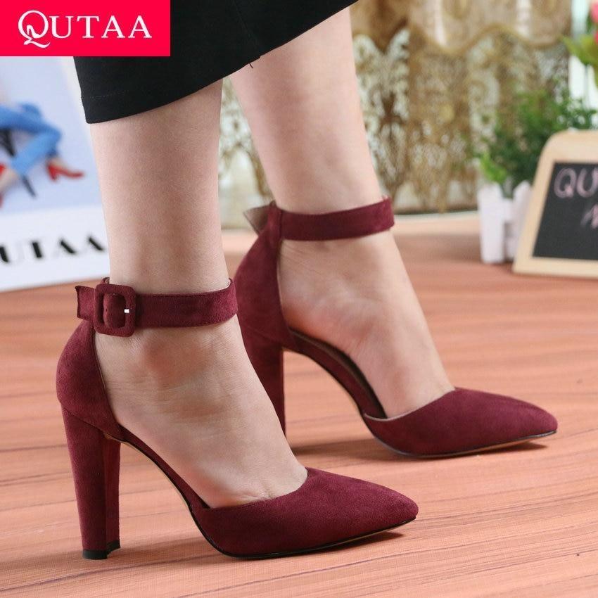 FAMIAO Fashion Thick Heel Party Women Dress Shoes Elegant