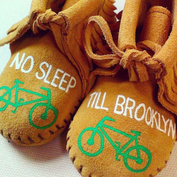 d8ad43c714eb8 Custom No Sleep Till Brooklyn Bicycle Baby Moccasins Beastie Boys ...